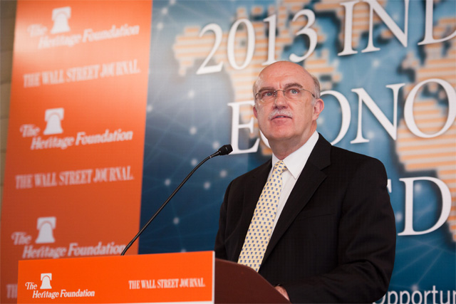 Ambassador Terry Miller, chief editor of the Index and Director of Center for International Trade and Economics, The Heritage Foundation, delivers the Index launch remarks in Hong Kong on January 10, 2013.