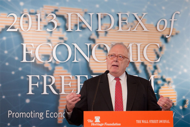 Dr. Edwin J. Feulner, president of The Heritage Foundation, delivers the Index launch remarks in Hong Kong on January 10, 2013