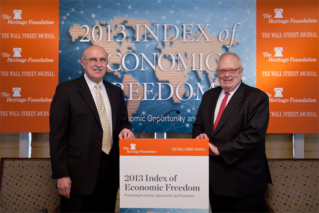 From the left: Ambassador Terry Miller, chief editor of the Index and Director of Center for International Trade and Economics, The Heritage Foundation and Dr. Edwin J. Feulner, president of The Heritage Foundation.