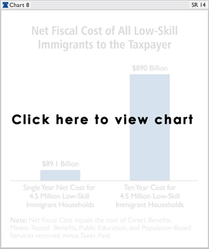 Net Fiscal Cost of All Low-Skill Immigrants to the Taxpayer