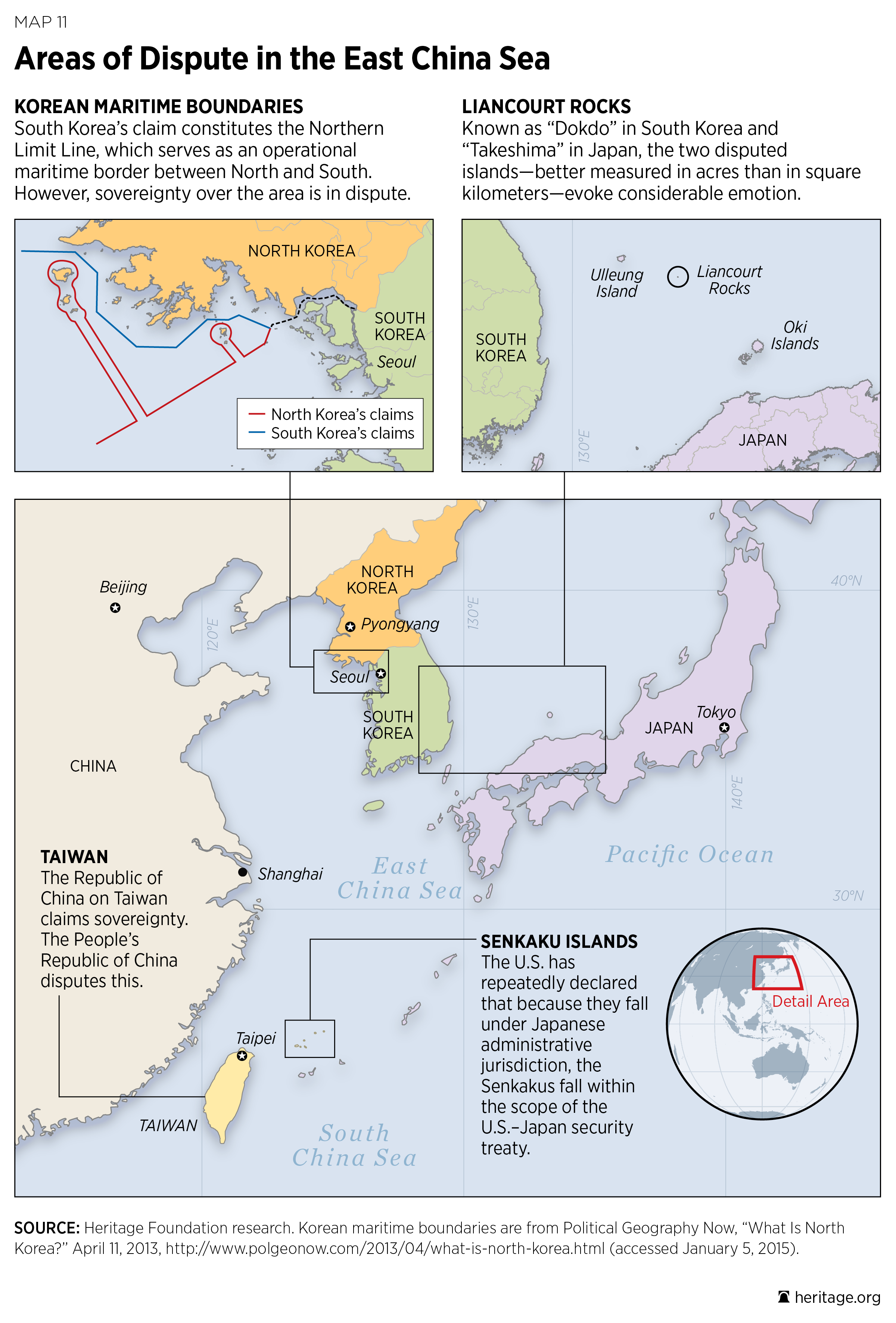 Areas of Dispute in the East China Sea