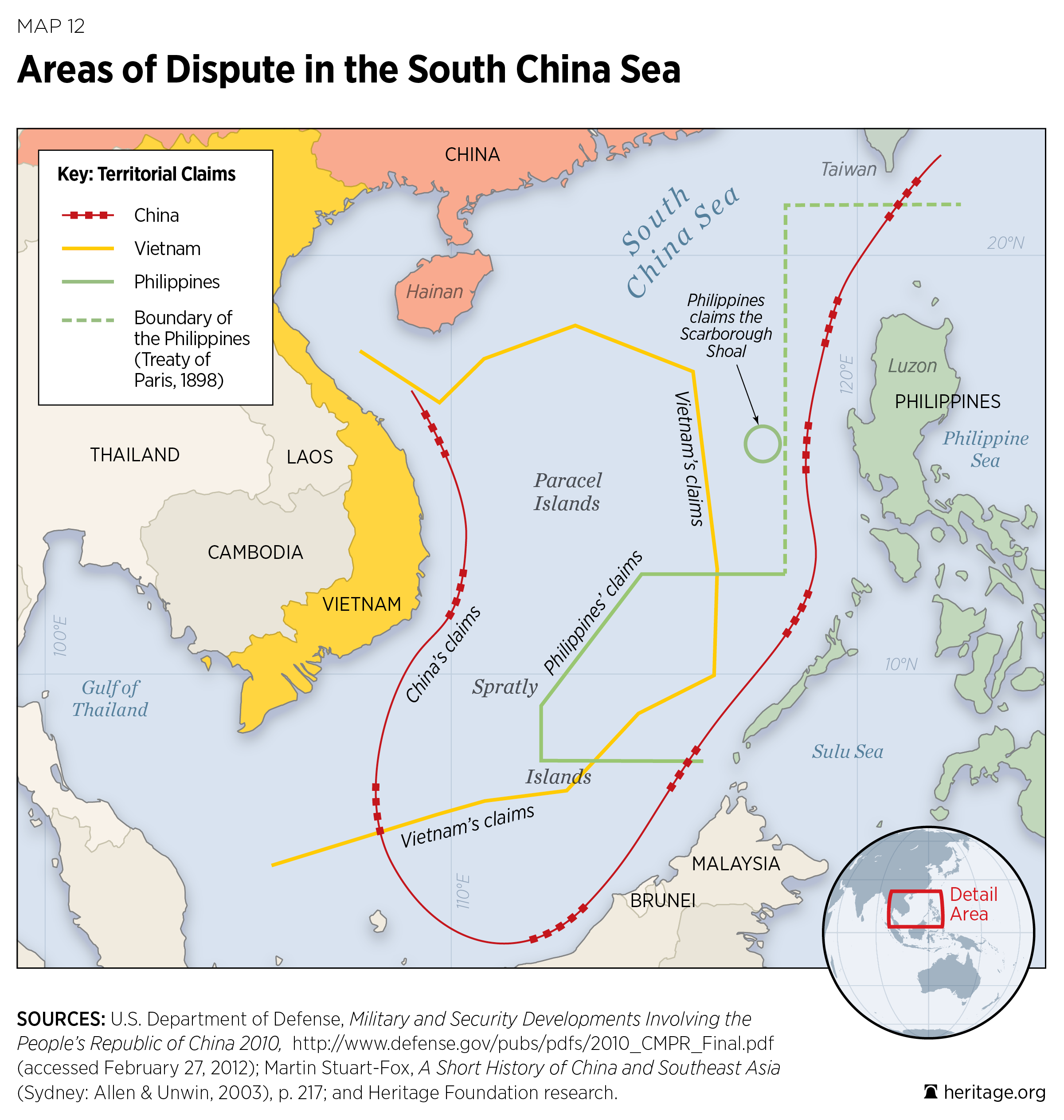 Areas of Dispute in the South China Sea
