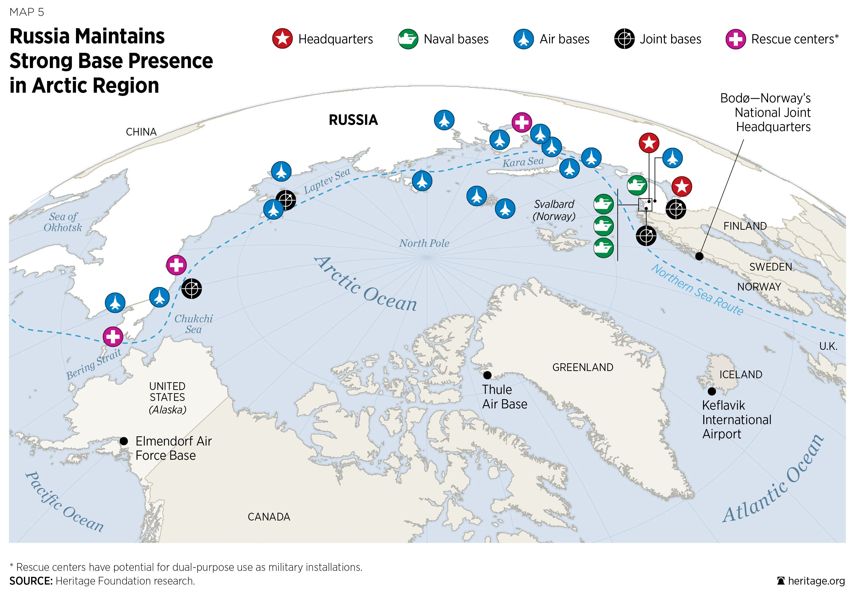 Map of Russia's Arctic Bases