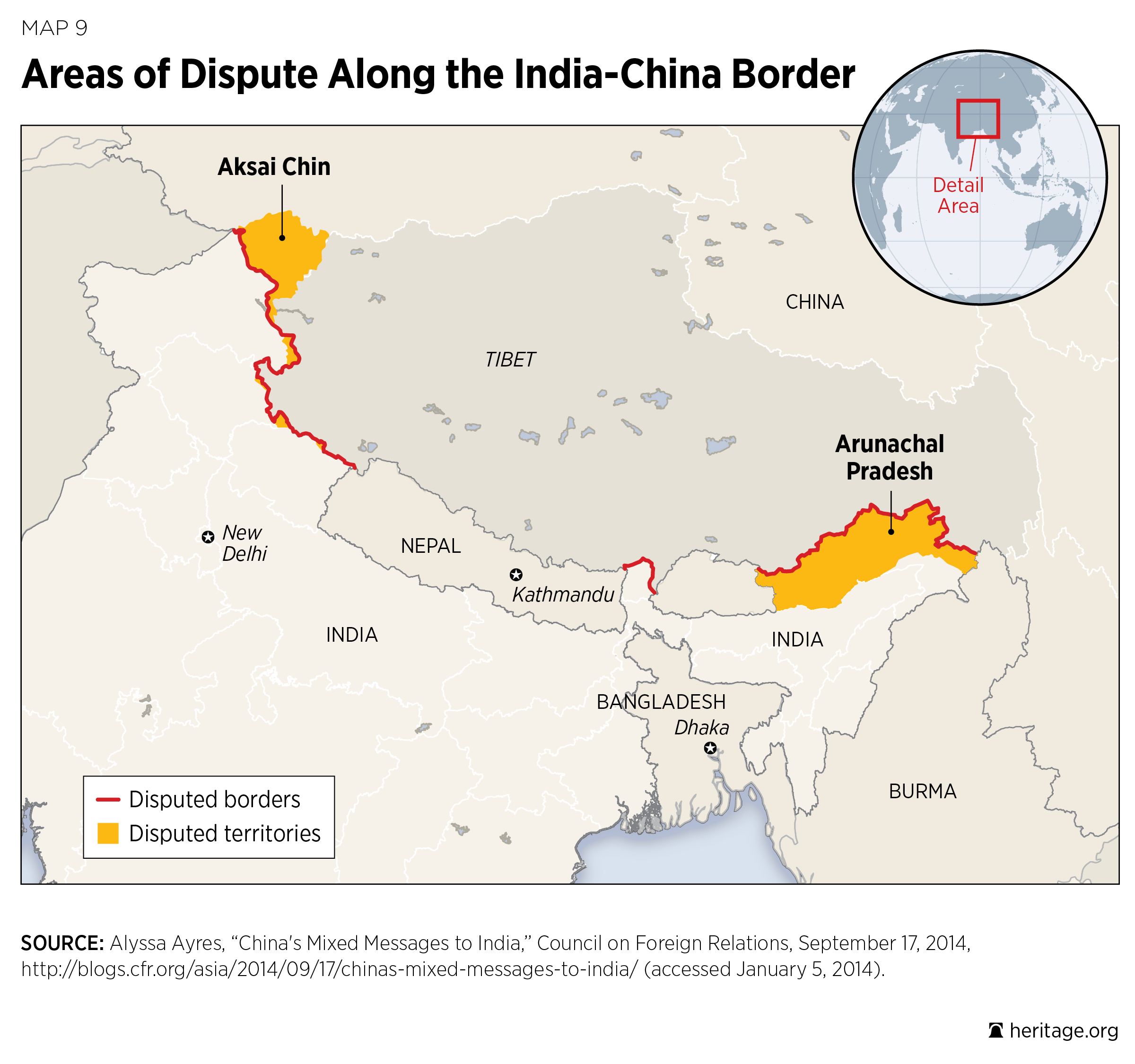 Areas of Dispute Along the India-China Border