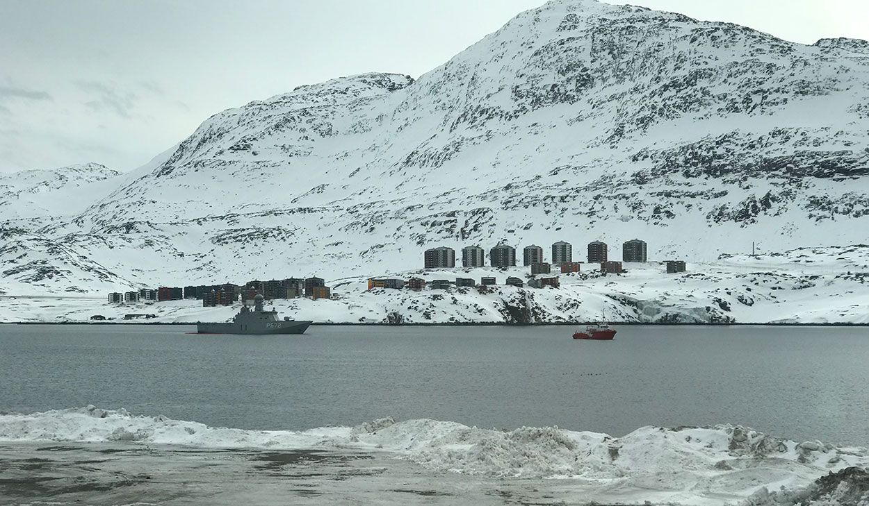 A Danish warship patrols Greenland's waters. (Photo: Luke Coffey)