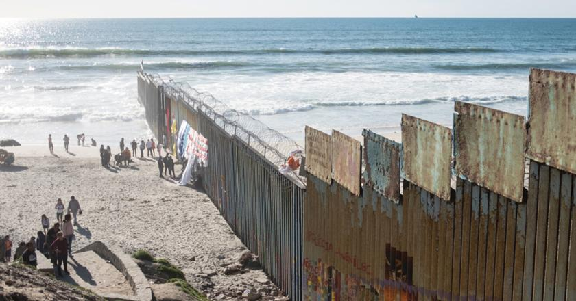 A wall marks the U.S.-Mexican border at Tijuana and Baja, March 13.