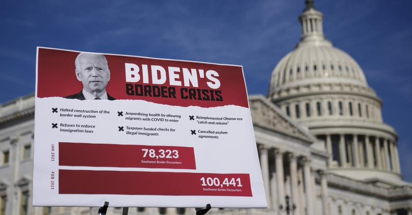 A sign is displayed before a news conference with House Republicans about U.S.-Mexico border policy outside the U.S. Capitol on March 11, 2021.