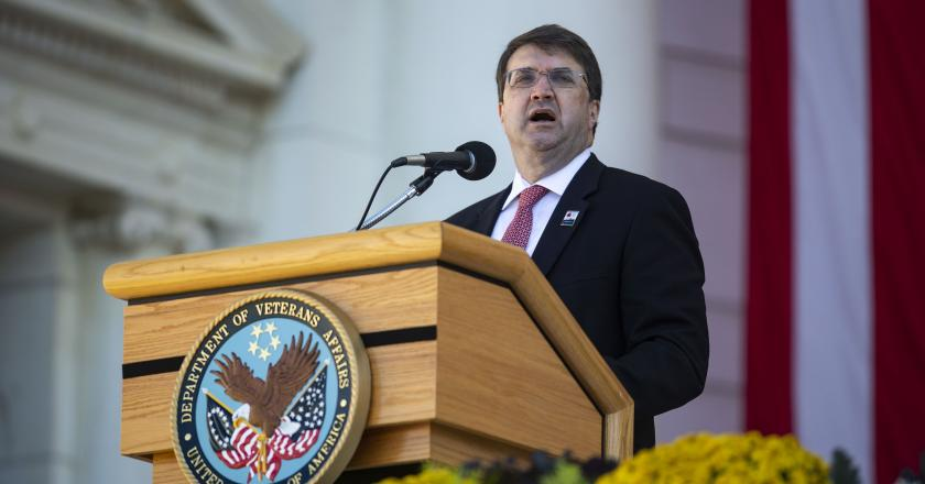 Secretary of Veterans Affairs Robert Wilkie speaks during a Veterans Day ceremony at Arlington National Cemetery on November 11, 2018 in Arlington, Virginia.