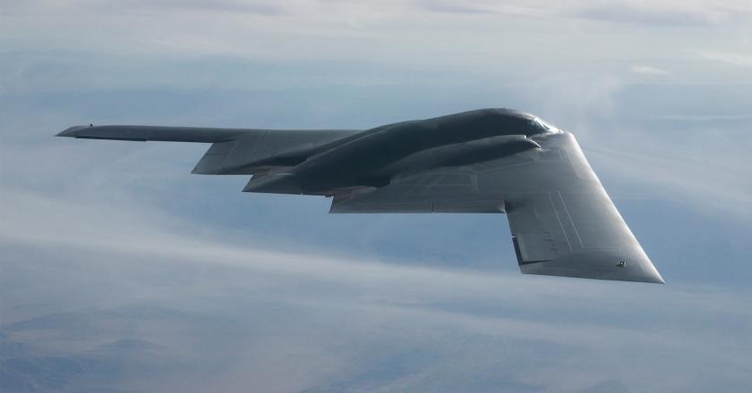 A B-2 Spirit soars through the sky.