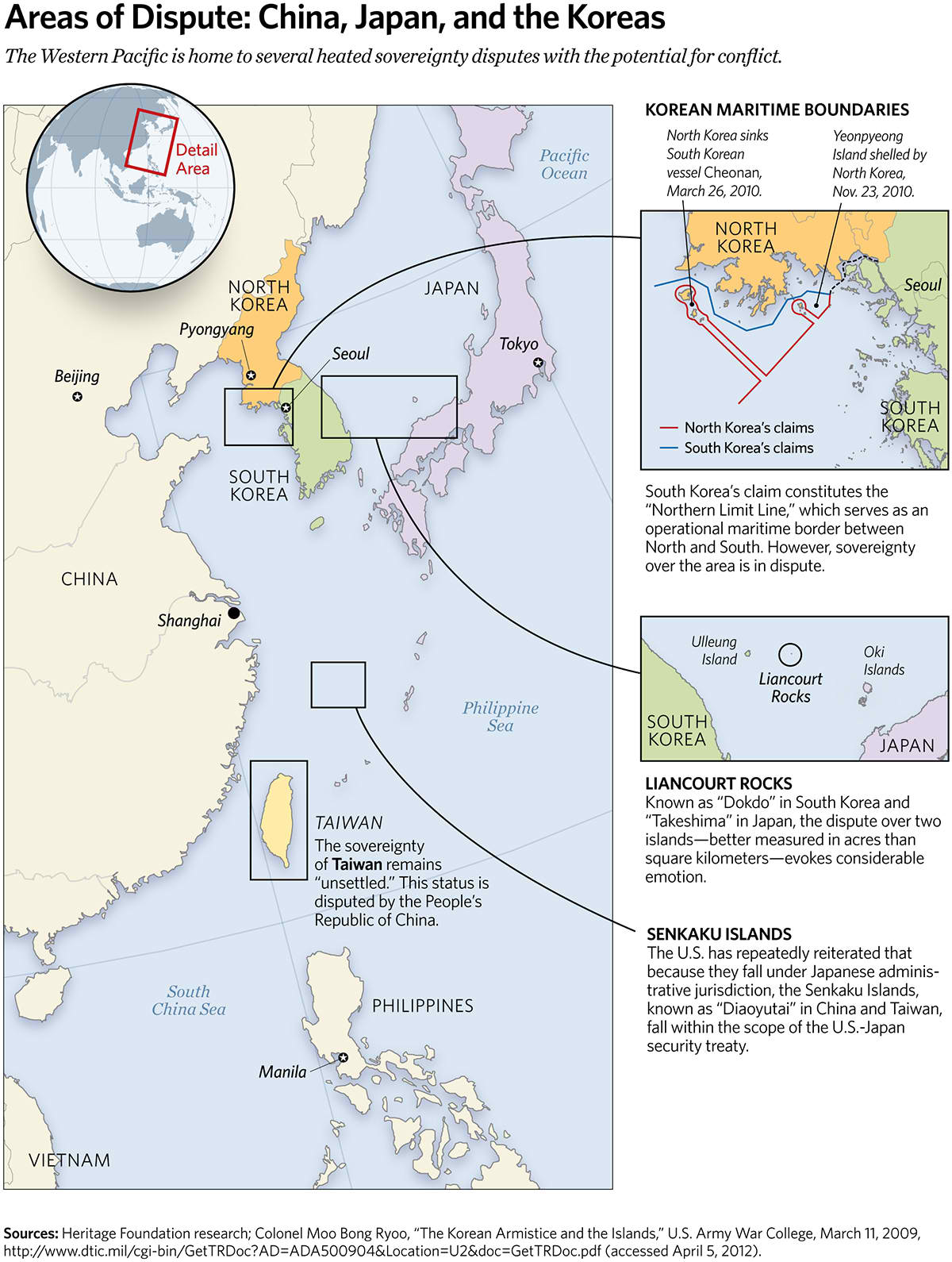 Areas of Dispute: China, Japan, and the Koreas