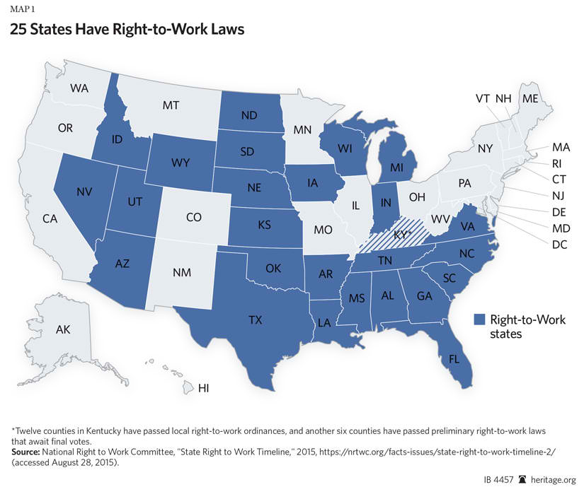 Labor Union States Map.Right To Work Laws Don T Lower Private Sector Pay The Heritage